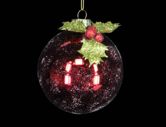 Glass Ball Snowy Red with Acrylic Holly