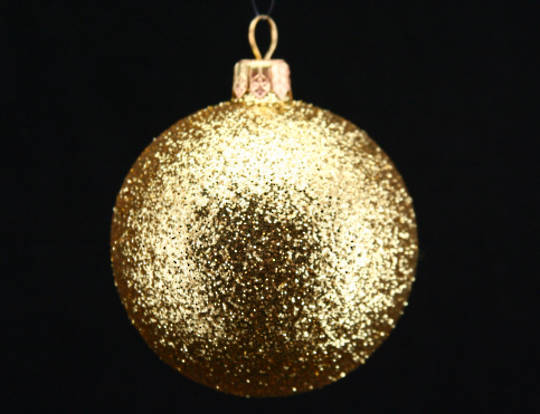 Hanging Glass Ball Gold Glitter 7cm