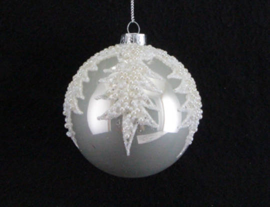 Glass Ball Pearly White with Pearl Bead Spikes 8cm