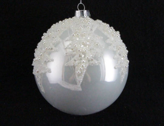 Glass Ball Pearly White with Pearl Bead Spikes 10cm
