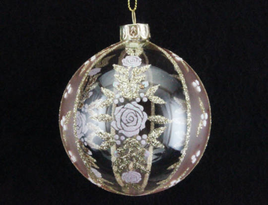 Glass Ball Clear and Opaque Pink with Gold Roses