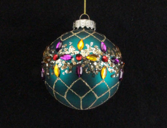 Glass Ball Matt Turquoise with Multi Jewelled Crystals