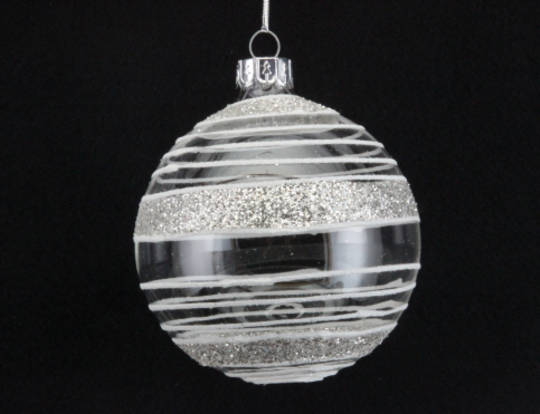Glass Ball Clear with White Vertical Lines and Glitter Strip 8cm