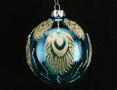 Glass Ball Metallic Turquoise with Gold Peacock Feathers