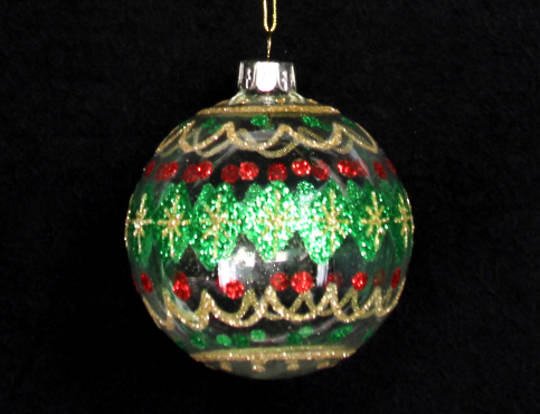 Glass Ball  Clear with Glitter Green, Red & Gold Pattern 8cm
