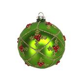 Glass Ball Matt Grass Green with Holly in Trellis 8cm