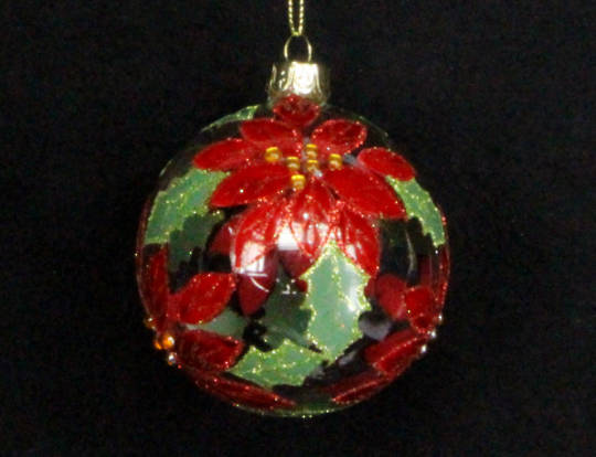 Glass Ball Clear with Red Poinsetta