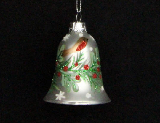Glass Bell Matt Pearly White with Robin & Holly