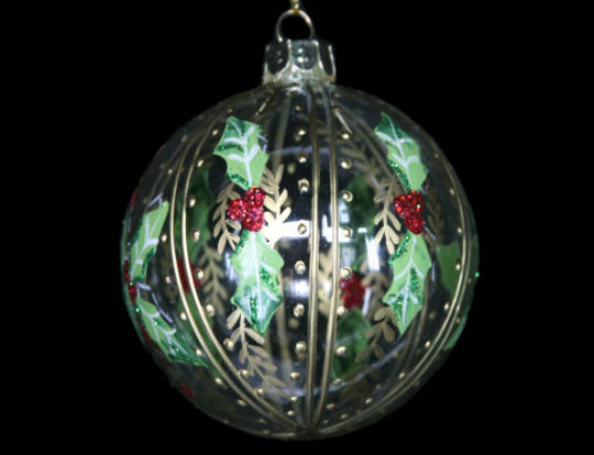 Glass Ball Clear with Gold Dots & Stripes and Holly