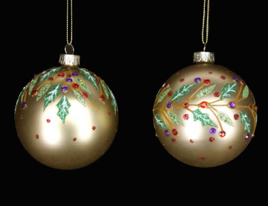 Glass Ball Matt Gold with Red Diamantes and Holly