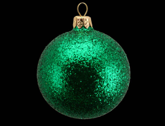 Glass Ball Green Glitter 7cm