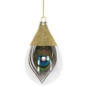 Hanging Glass Olive Gold Top with Peacock Feather Inside