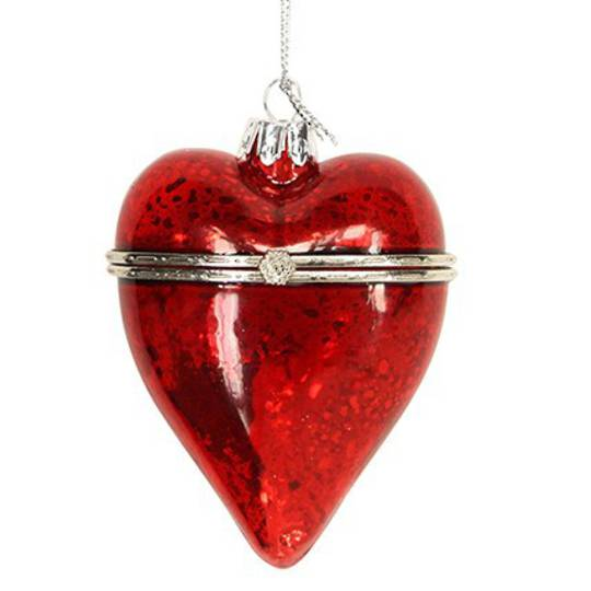 Hanging Glass Heart, Red