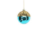 Hanging Glass Ball Turquiose with Gold Top
