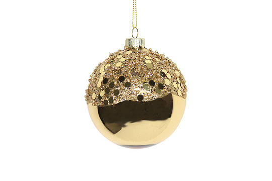 Hanging Glass Ball Shiny Gold with Gold Sequin Top