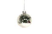 Hanging Glass Ball Clear w/Snow and Fir Branch Inside