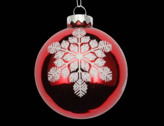 Glass Ball Shiny red with White Snowflake 8cm
