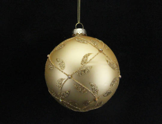 Hanging Glass Ball Matt Gold W/Gold Trellis
