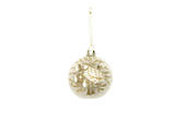 Hanging Glass Ball Clear, Cream Partridge Gold Tree