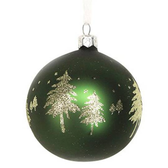 Hanging Glass Ball Dark Green w/Gold Trees