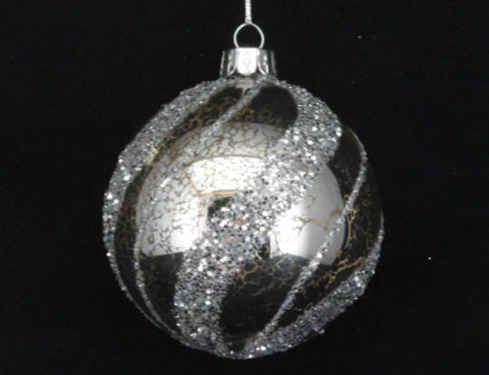 Glass Ball Antique with Silver Glitter Spiral 8cm