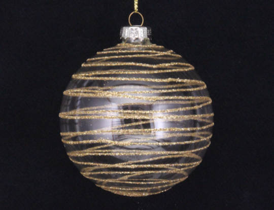 Glass Clear / Gold Glitter Astral Ball 8cm