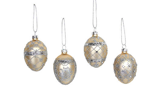 Hanging Glass Egg, Silver and Gold, Small