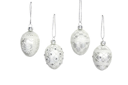 Hanging Glass Egg, White and Silver, Small