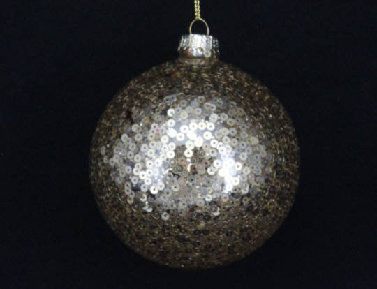 Glass Ball Clear/ Gold Sequins 8cm