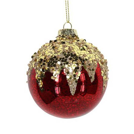 Hanging Glass Ball, Antique Red w/Gold Top 8cm