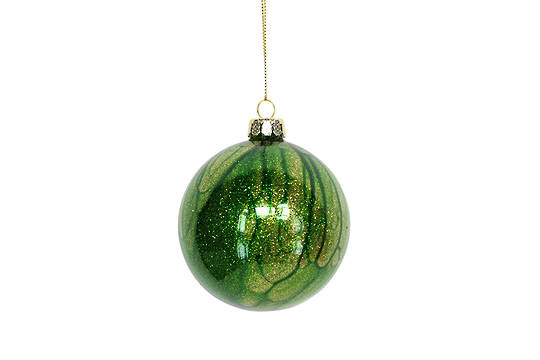Hanging Glass Ball, Marbled Green