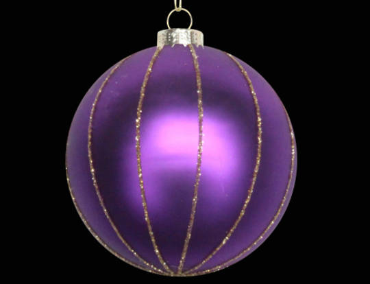 Glass Ball Matt Purple w/ Gold Glitter Stripes 8cm
