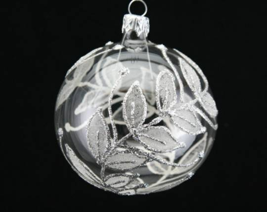 Glass Ball Clear with Frosted Silver Leaves 8cm