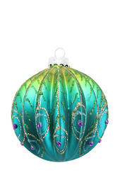Hanging Glass Ball, Ribbed with Peacock Feather Pattern