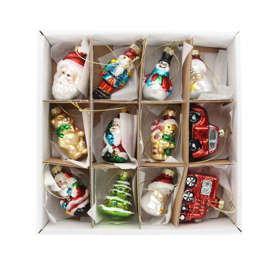 Hanging Glass Painted Mini Decorations Box of 12