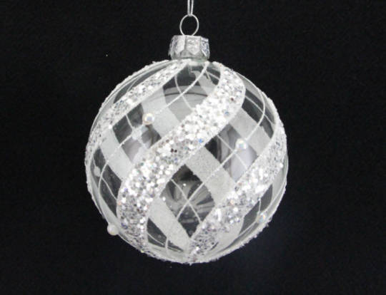 Glass Ball Clear with White Vertical Sway Lines, with Pearl and Glitter