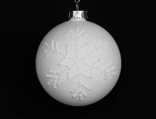 Glass Ball Matt White with Flocked Snowflake SOLD OUT