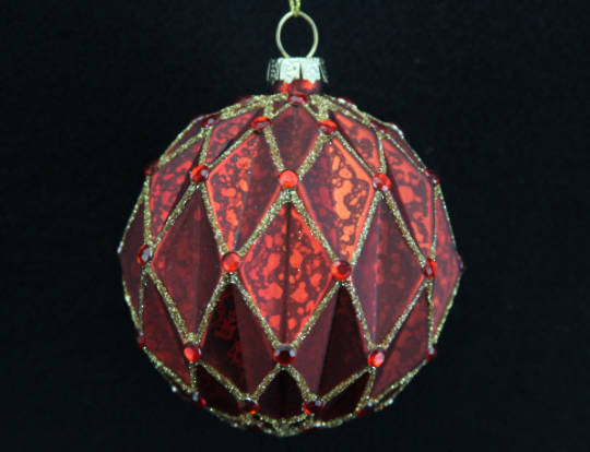 Glass Ball Antique Matt Red Ribbed Triangles with Gold 8cm