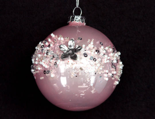 Glass Ball Metallic Soft Pink with Crushed Diamante Band