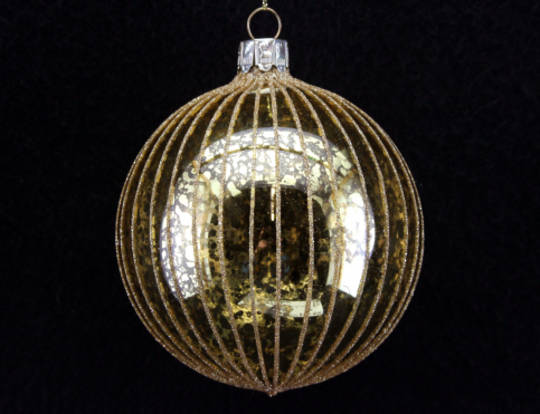 Hanging Glass Ball Clear Gold w/ Gold Glitter Stripe