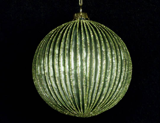 Glass Ball, Thin Ribbed Olive Green