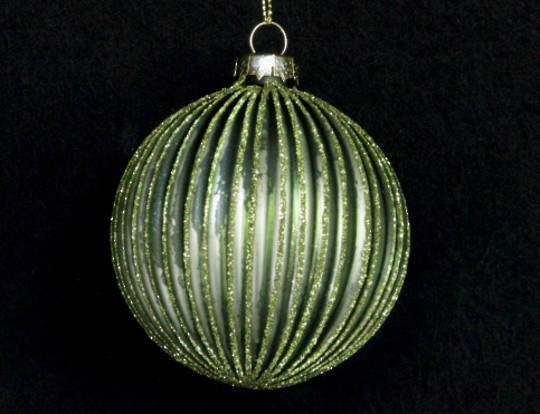 Glass Matt Olive Green Ribbed Ball with Glitter 8cm