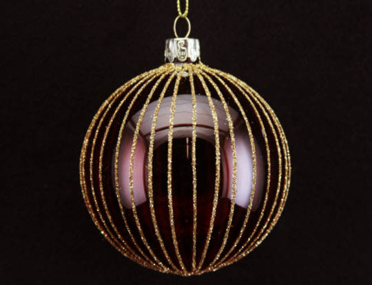 Glass Ball Translucent Red with Vertical Gold Stripes 8cm