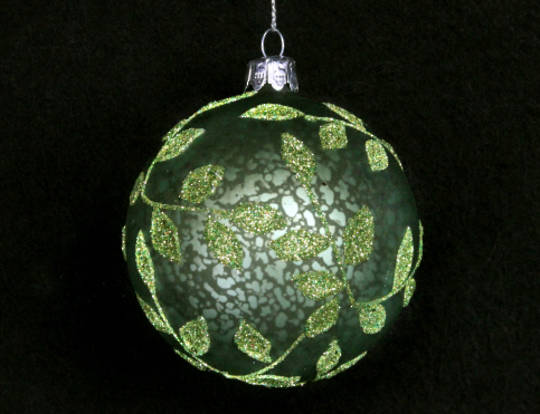 Glass Ball Antique Matt Green w/ Green Beaded Leaves