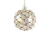 Glass Ball, Soap Bubble with Gold Trellis & Red Diamante