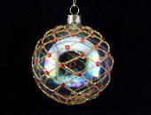 Glass Ball Clear Soap Bubble with Gold Trellis & Red Diamante