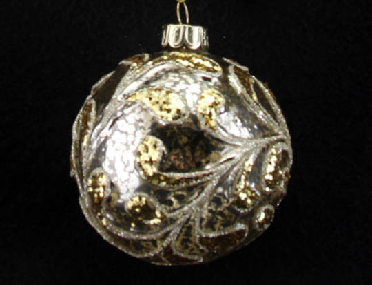 Glass Ball Clear Antiqued Gold w/ Gold Glitter leaves