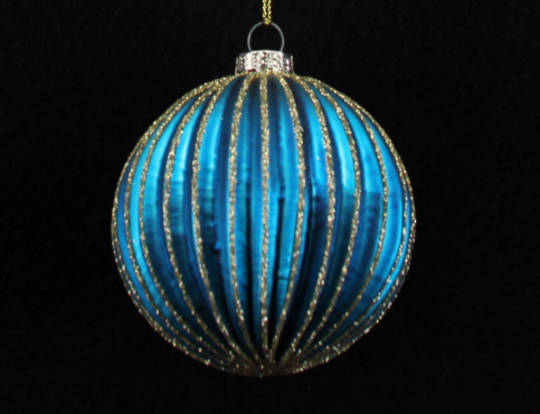 Glass Ball, Thin Ribbed Peacock Blue