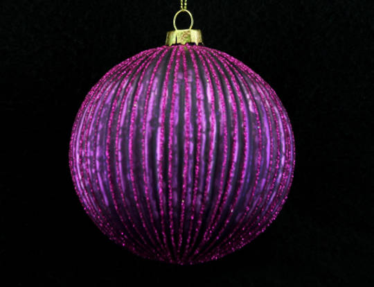 Glass Ball Purple Ribbed w/ Fuchsia Glitter