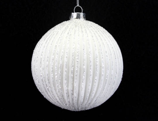 Glass Ball Ribbed Matt White with Iridescent Glitter